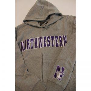 Northwestern Wildcats Grey Fullzip Hooded Sweatshirt with Tackle Twill Sewn On Arched Northwestern Design