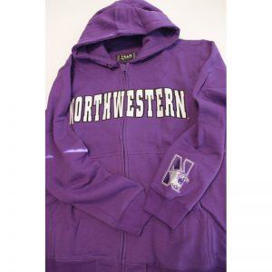 Northwestern Wildcats Purple Fullzip Hooded Sweatshirt with Tackle Twill Sewn On Arched Northwestern Design