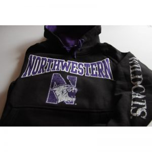 Northwestern Wildcats Black Hooded Sweatshirt with Tackle Twill Sewn On Northwestern & Printed Multicolor Distressed N-cat Design
