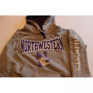 Northwestern Wildcats Grey Hooded Sweatshirt with Tackle Twill Sewn On Northwestern & Printed Multicolor Distressed N-cat Design