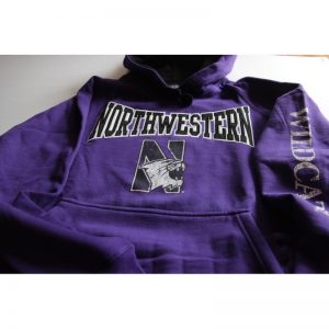 Northwestern Wildcats Purple Hooded Sweatshirt with Tackle Twill Sewn On Northwestern & Printed Multicolor Distressed N-cat Design