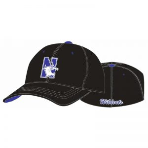 Northwestern Wildcats Black Flexfit Hat with N-Cat Design