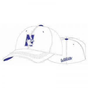 Northwestern Wildcats White Flexfit Hat with N-Cat Design