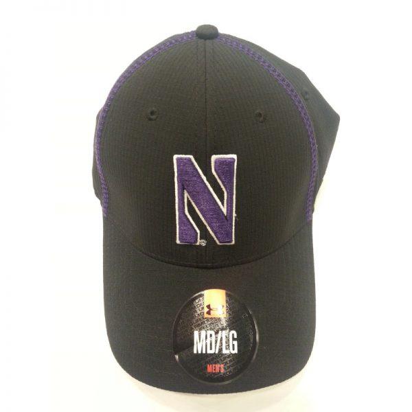 Northwestern Wildcats Under Armour Black Flex-Fit Hat with Stylized N Design