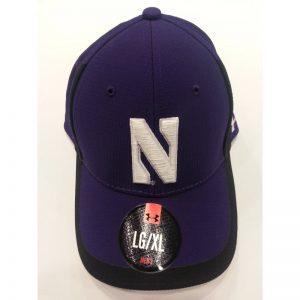 Northwestern Wildcats Under Armour Purple/Black Flex-Fit Hat with Stylized N Design
