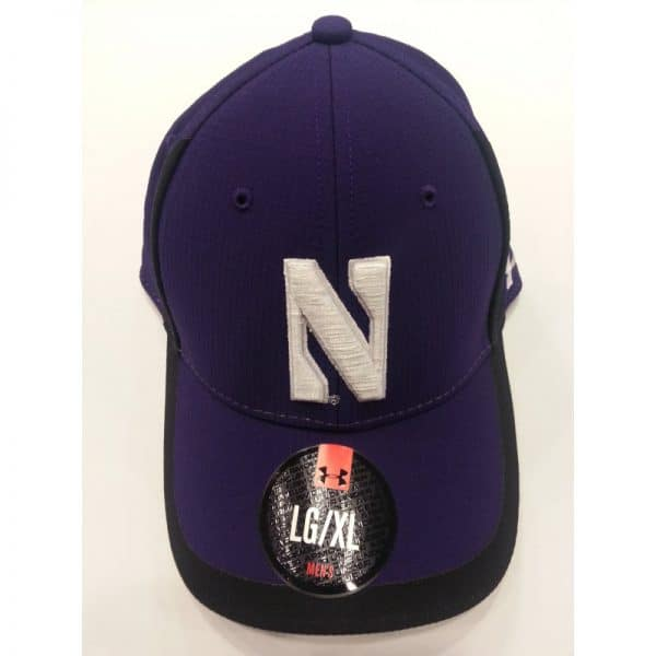 Northwestern Wildcats Under Armour Purple/Black Flex-Fit Hat with Stylized N Design