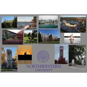 Northwestern Wildcats Postcard Montage with Grey Lower Seal Northwestern University NU0057