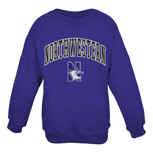 Northwestern University Wildcats Youth Purple Crewneck Sweatshirt With Sewn Arched Northwestern Over N-Cat Design