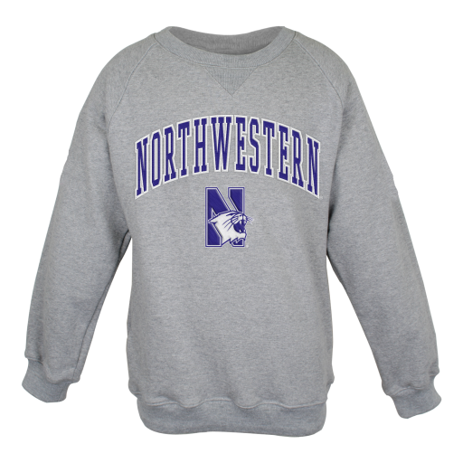 Northwestern University Wildcats Youth Grey Crewneck Sweatshirt With Sewn Arched Northwestern Over N-Cat Design