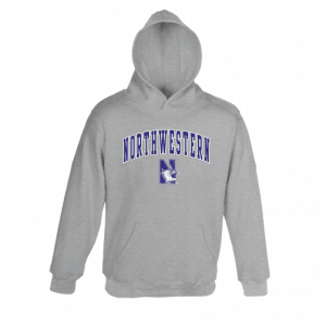 Northwestern University Wildcats Youth Dark Grey Hooded Sweatshirt With Sewn Arched Northwestern Over N-Cat Design