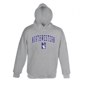 Northwestern University Wildcats Youth Light Grey Hooded Sweatshirt With Sewn Arched Northwestern Over N-Cat Design
