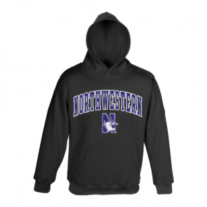 Northwestern University Wildcats Youth Black Hooded Sweatshirt With Sewn Arched Northwestern Over N-Cat Design
