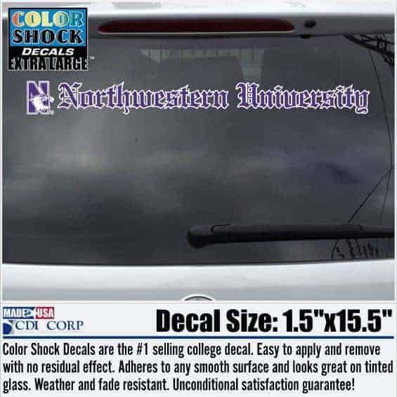 N-cat Northwestern University Old English Letters Long Outside Application Decal