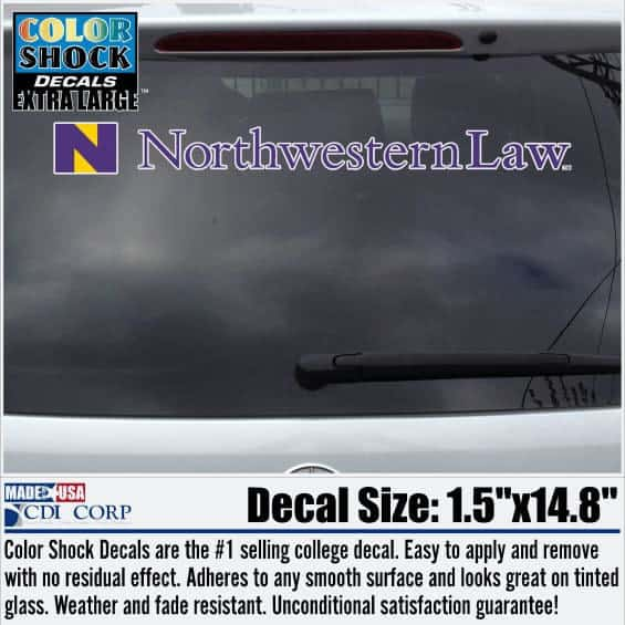 Northwestern University Law Design Outside Application Long Decal