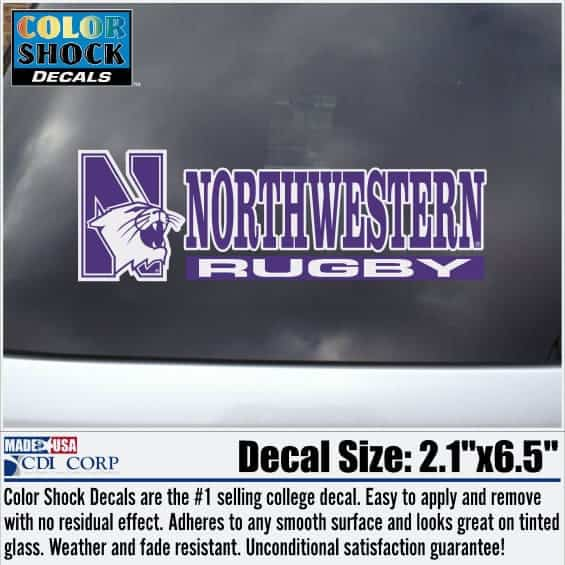 Northwestern University Rugby Outside Application Decal