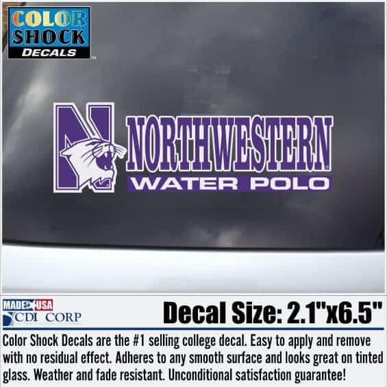 Northwestern University Water Polo Outside Application Decal