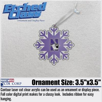 Northwestern University Laser Cut Acrylic Snoflake with N-cat Design Ornment