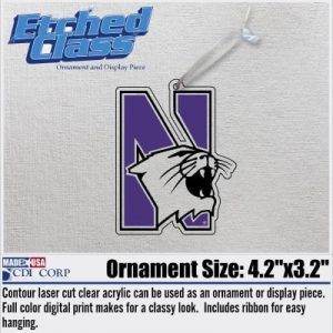Northwestern University Laser Cut Acrylic N-cat Ornment