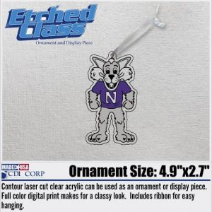 Northwestern University Laser Cut Acrylic Willie the Wildcat Ornment