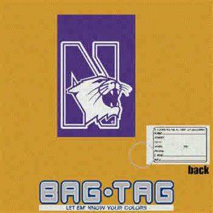 Northwestern University Laser Cut Luggage Tag with N-cat design