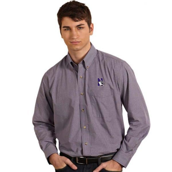 Northwestern University Wildcats Antigua Men's Purple Focus Dress Shirt