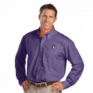 Northwestern University Wildcats Antigua Achieve Men's Purple Stripped Dress Shirt