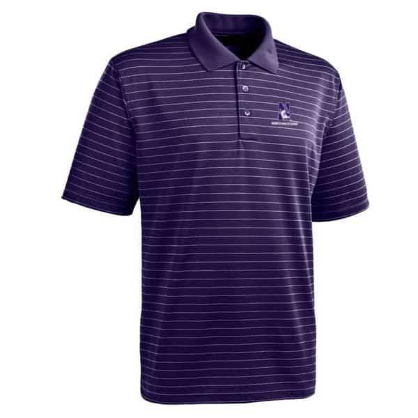 Northwestern University Wildcats Antigua Men's Elevate Purple Striped Polo Shirt