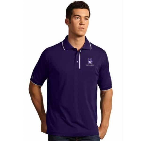 Northwestern Widcats Antigua Men's Polo Shirt   ELITE 100542
