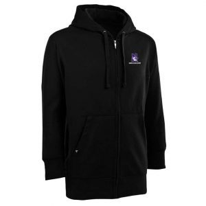Northwestern Widcats Antigua Black Men's Full Zip Hooded Sweatshirt   Signature Full Zip 100304