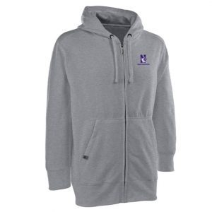 Northwestern Widcats Antigua Grey Men's Full Zip Hooded Sweatshirt   Signature Full Zip 100306