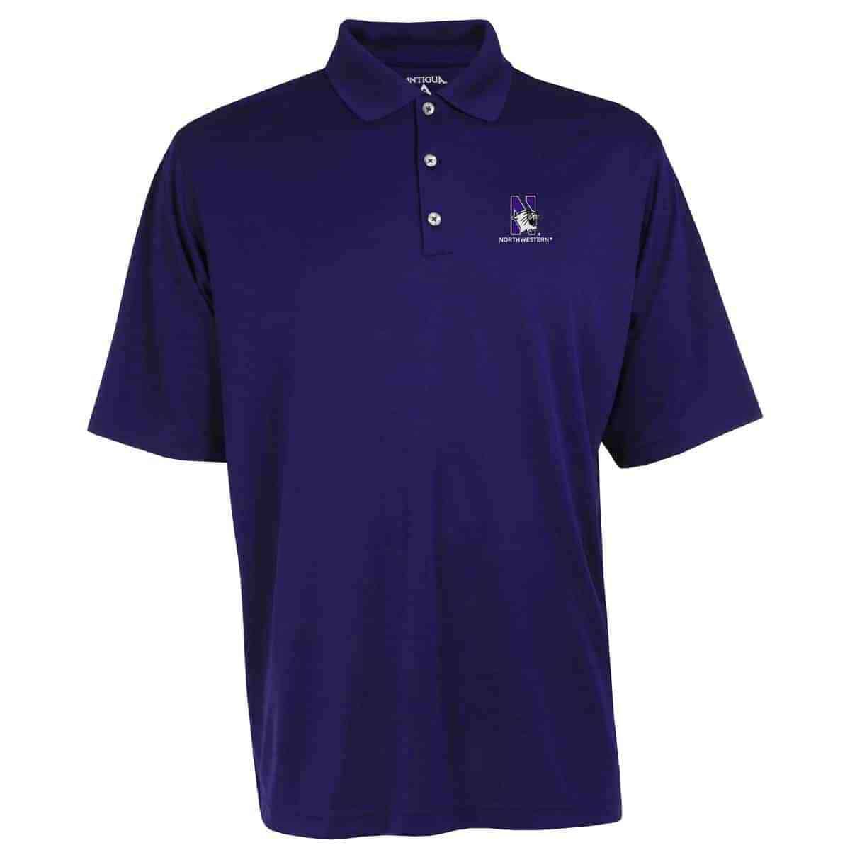 Northwestern Widcats Antigua Mens Purple Polo Shirt Exceed 100208