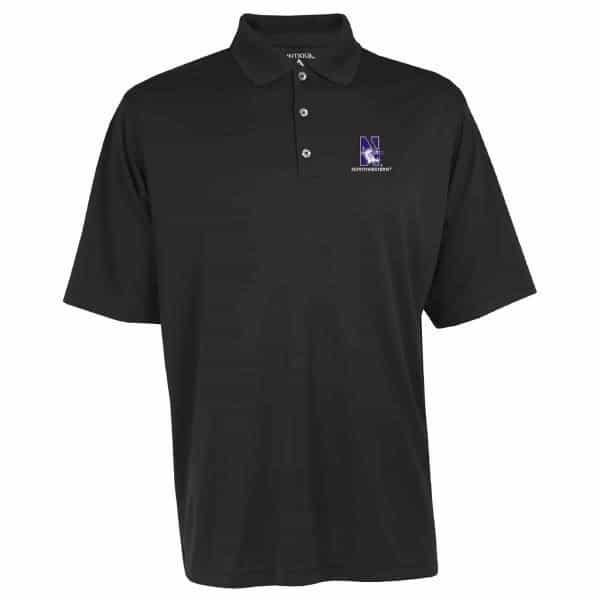 Northwestern Widcats Antigua  Men's Black Polo Shirt    Exceed 100209