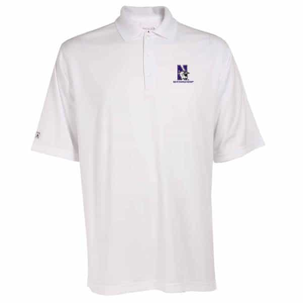 Northwestern Widcats Antigua  Men's White Polo Shirt    Exceed 100210