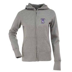 Northwestern Widcats Antigua  Women's Grey Zip Hood    Women's Signature Hood 100225