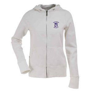 Northwestern Widcats Antigua  Women's White Zip Hood    Women's Signature Hood 100226