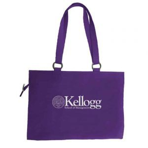 Northwestern Widcats  Zippered Tote Bag with Embroidered Kellogg Design