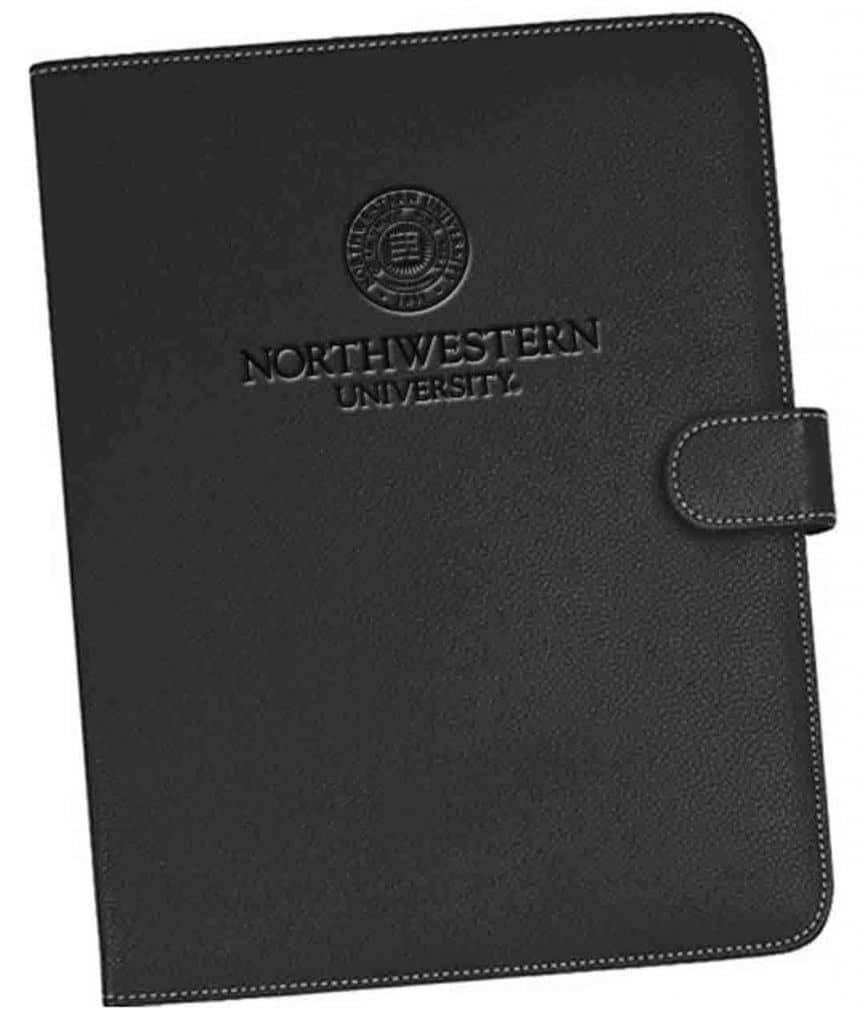 Northwestern Widcats Black Faux Litchi Leather Portfolio