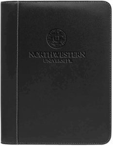 Northwestern Widcats Black Faux Litchi Leather Zippered Portfolio