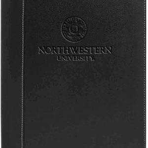 Northwestern Widcats Black Faux Litchi Leather Zippered Portfolio