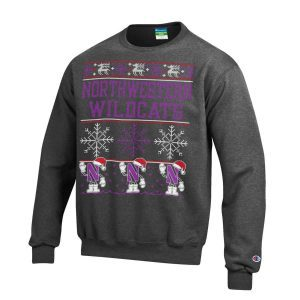 Northwestern University Wildcats Charcoal Christmas Sweatshirt With Santa Hat Design