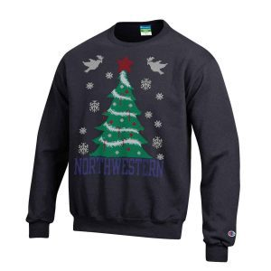 Northwestern University Wildcats Black Christmas Sweatshirt With Tree Design