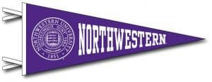 Northwestern Wildcats Wool Felt Pennant with the Seal Design (4X9)