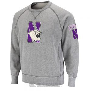Northwestern Wildcats Colosseum Men's Heather Grey Outlaw Crewneck