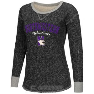 Northwestern Wildcats Colosseum Women's Heather Charcoal Sundance Boat-Neck Pullover