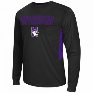 Northwestern Wildcats Colosseum Men's Trainer Black Long Sleeve Tee