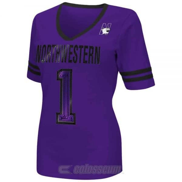 Northwestern Wildcats Colosseum Women's Discover V-Neck  Short Sleeve Tee Shirt