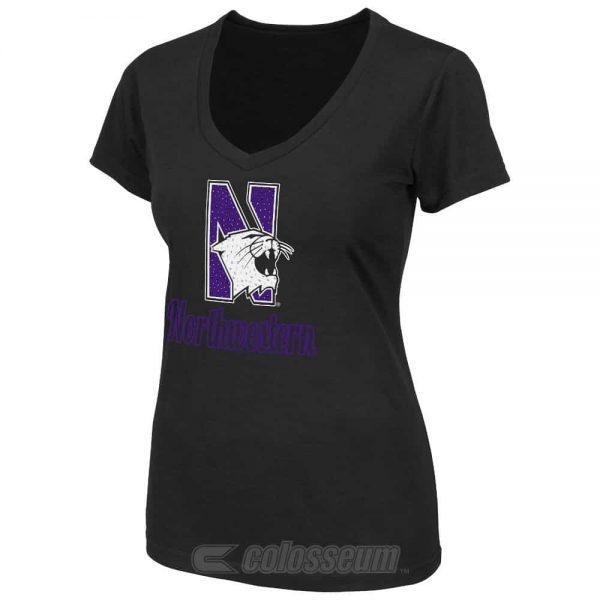 Northwestern Wildcats Colosseum Women's Vegas V-Neck  Short Sleeve Tee Shirt