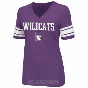 Northwestern Wildcats Colosseum Women's Yardline II V-Neck  Short Sleeve Tee Shirt