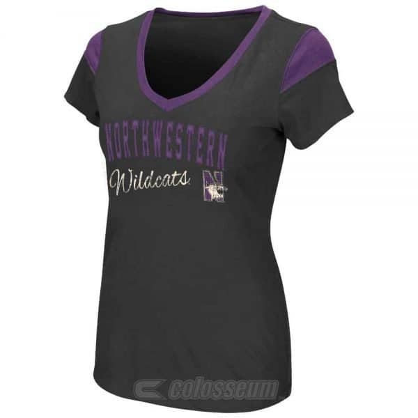 Northwestern Wildcats Colosseum Women's Tackle V-Neck  Short Sleeve Tee Shirt