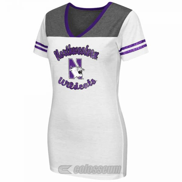 Northwestern Wildcats Colosseum Women's Pipeline V-Neck  Short Sleeve Tee Shirt